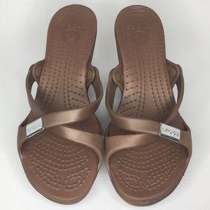 Crocs Cyprus Heel Strappy Sandals Sz 8